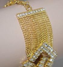 BRACCIALE donna oro dorato cristalli strass elegante cerimonia 86