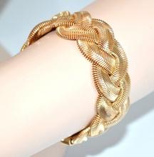 BRACCIALE donna oro dorato zigrinato semi-rigido intrecciato multi maglie elegante cerimonia 172