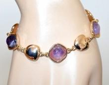 BRACCIALE donna oro pietre viola lilla glicine rosa ciondoli dorato elegante GP9