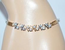 BRACCIALE donna TENNIS strass ARGENTO ORO cristalli CUORI  idea regalo san valentino E15
