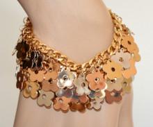 BRACCIALE ORO donna charms ciondoli fiori pendagli argento oro rosa dorato maglia catena N37