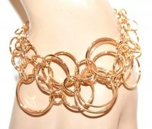 BRACCIALE oro dorato donna catena anelli cerchi lucidi cerimonia bracelet G55