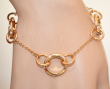 BRACCIALE ORO dorato donna charms ciondoli anelli filo catenina strass braccialetto N60