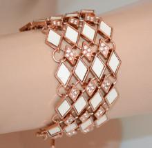 BRACCIALE ORO ROSA donna fascia strass cristalli ciondoli rombi bianco panna Armband S94