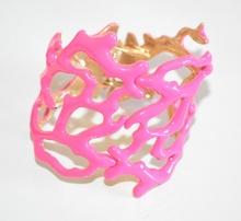 BRACCIALE ROSA FUCSIA donna rigido corallo oro dorato elegante bracelet F80