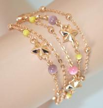 BRACCIALE STELLE donna oro dorato ciondoli multifili charms pietre perle lilla rosa gialle N69