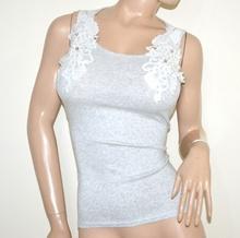 CANOTTA grigio donna tank top maglietta giromanica pizzo ricamata perle cotone G16