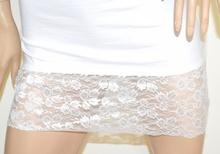 CANOTTA LUNGA BIANCA donna top maglia sottogiacca pizzo ricamo elegante cotone A40