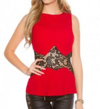 CANOTTA ROSSA donna top pizzo nero ricamato maglietta giromanica elegante AZ25