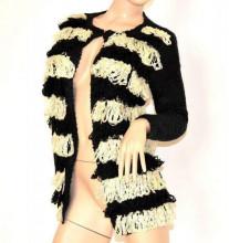 CARDIGAN donna NERO BEIGE maglione aperto maglia manica lunga girocollo F155