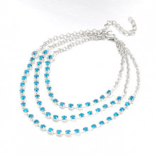 CAVIGLIERA donna argento multi fili strass blu azzurri celesti turchesi cristalli elegante N98