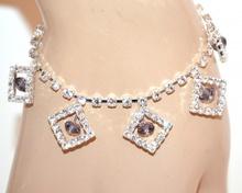 CAVIGLIERA donna argento strass cristalli lilla ciondoli brillantini ankelen F30