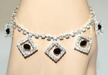 CAVIGLIERA donna argento strass cristalli neri ciondoli brillantini anklet F30