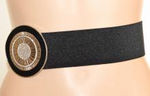 CINTURA donna NERA ARGENTO stringivita fibbia strass eco pelle lurex elastica elegante G62
