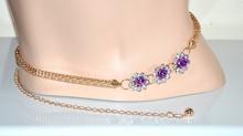Cintura gioiello donna oro metallo dorata fiori strass cristalli brillantini anelli regolabili elegante da cerimonia 60