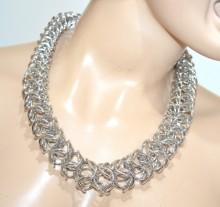 COLLANA argento girocollo donna collier catena anelli intrecciati elegante GP14