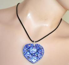 COLLANA donna ciondolo cuore blu bianco girocollo laccio nero catenina naszyjnik PX2