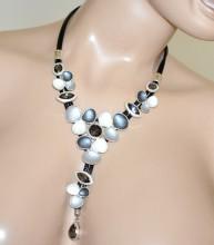 COLLANA donna NERA ciondoli fiori grigio bianchi argento cristalli girocollo G70