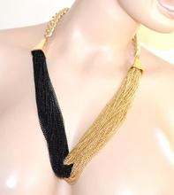 COLLANA donna NERA ORO girocollo dorato catena multifili diamantata elegante VN2