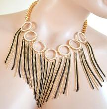 COLLANA donna ORO NERA dorata collarino fili strass collier elegante cerimonia F330