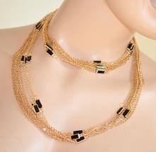 COLLANA GIROCOLLO ORO donna Elegante con anelli PIETRE NERE fili collier necklace 270