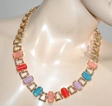 COLLANA girocollo oro dorata donna collier pietre rosa viola turchese rosso collar G4