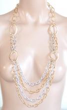 COLLANA LUNGA catena oro dorato argento donna maglia anelli diamantati collier G37