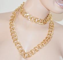 COLLANA LUNGA CINTURA-GIOIELLO donna ORO dorata CATENA anelli metallo lucido collana\girocollo A16