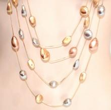 COLLANA LUNGA donna argento oro dorato rosa ciondoli pietre satinate fili long necklace GP5L