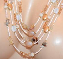 COLLANA LUNGA donna avorio rosa cipria oro ambra pietre multi fili girocollo S20