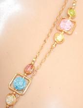 COLLANA LUNGA donna ORO dorata collier charms pietre cristalli colorati rosa azzurri verde beige N8