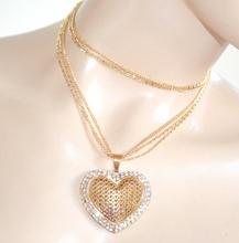COLLANA LUNGA donna ORO girocollo ciondolo cuore strass idea regalo san valentino E20