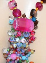 COLLANA LUNGA donna PIETRE DURE fucsia rosa azzurre bronzo Cristalli stones necklace P10