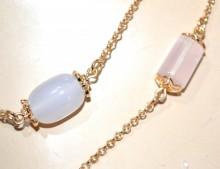 COLLANA LUNGA donna pietre rosa cipria lilla oro dorata ciondoli girocollo long collier GP25