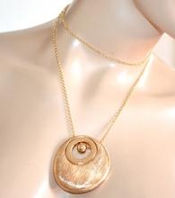 COLLANA lunga girocollo donna ciondolo zigrinato oro dorato catenina elegante cerimonia A3