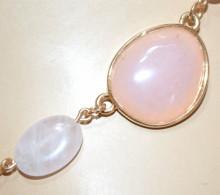 COLLANA PIETRE ROSA CIPRIA donna ORO girocollo ciondoli collier catena anelli N90