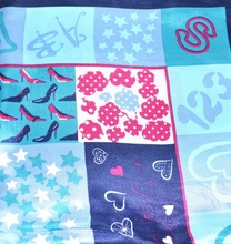 FOULARD donna 60x60 fantasia multicolore azzurro raso 86