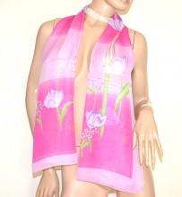 FOULARD donna ROSA FUCSIA 40% seta sciarpetta fantasia stola velata coprispalle G38