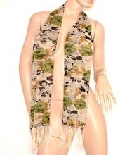 FOULARD STOLA coprispalle sciarpa donna ELEGANTE da Cerimonia con FANTASIA FLOREALE verde 600Q
