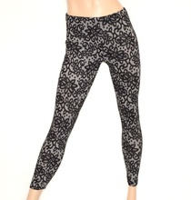 LEGGINGS donna NERO GRIGIO fantasia floreale pantacollant pantalone fuseaux ricamato Z1