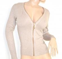 MAGLIETTA donna BEIGE maniche lunghe maglia sottogiacca cardigan aperto zip oro sexy scollatura E10
