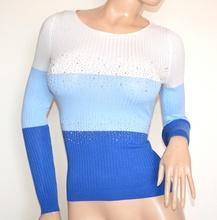 MAGLIETTA donna bianca celeste blu maglia manica lunga sottogiacca strass G20