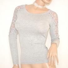 MAGLIETTA donna GRIGIO manica lunga ricamata elegante maglia sottogiacca da cerimonia E35