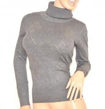 MAGLIETTA donna maglione GRIGIO collo alto manica lunga strass maglioncino sottogiacca Z60