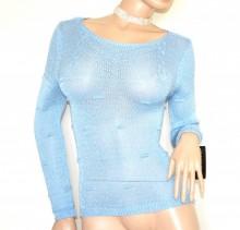 MAGLIETTA FILO donna azzurro golfino manica lunga maglia maglione sottogiacca made in Italy G92