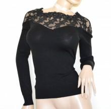 MAGLIETTA NERA donna maglia manica lunga golfino velata ricamata sottogiacca pull over G72