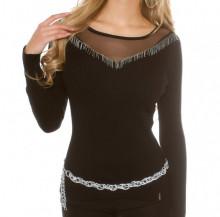 MAGLIETTA NERA donna maglia velata manica lunga frangia maglione sottogiacca AZ6
