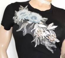 MAGLIETTA NERA donna t-shirt maglia ricamata manica corta sottogiacca cotone B18