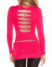 MAGLIETTA ROSA FUCSIA donna maglia paillette oro manica lunga sottogiacca AZ16
