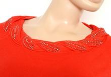 MAGLIETTA ROSSA donna maglia girocollo manica lunga maglione sottogiacca strass chiodini Z15